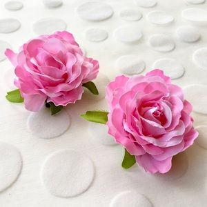 Set of 2 Sweet Pink Fabric Rosette Hair Clips, NWT